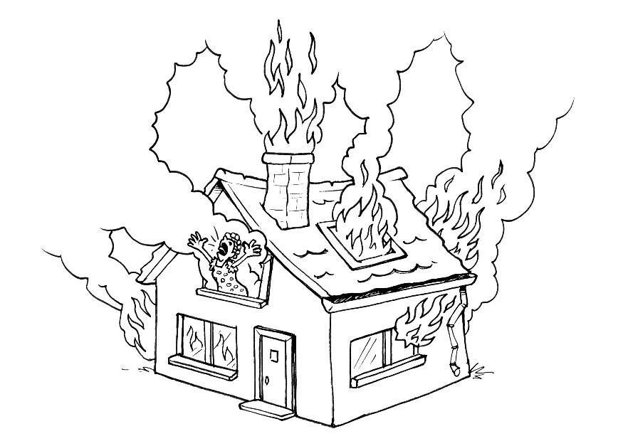 coloring house on fire drawing clip art illustration of a house on fire coloring page drawing coloring on house fire