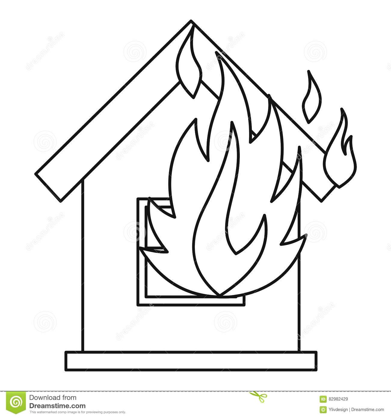 Coloring house on fire drawing