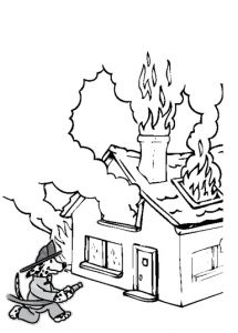 coloring house on fire drawing fire safety coloring page book activities fire safety fire drawing house on coloring
