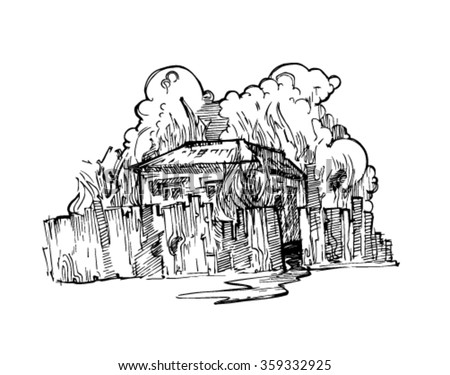 coloring house on fire drawing house fire doodle stock vector royalty free 737266393 coloring house drawing on fire