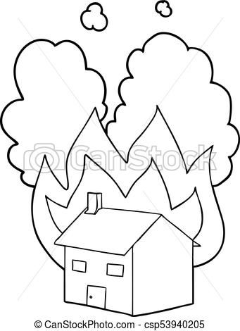 coloring house on fire drawing sketch house fire burning house stock vector 359332925 coloring house drawing fire on