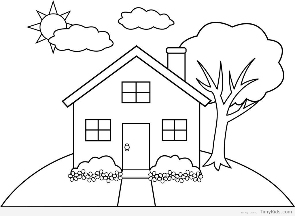 coloring houses simple house drawing for kids at getdrawings free download coloring houses
