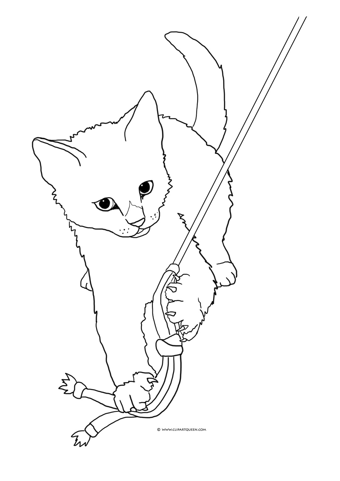 coloring image of cat christmas cat line art free clip art image cat of coloring