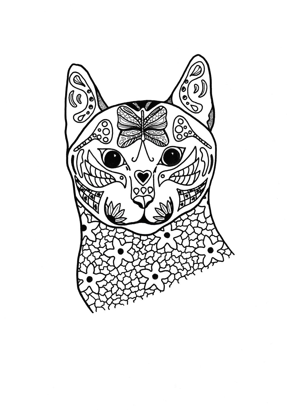 coloring image of cat springtime cat coloring page favecraftscom cat coloring image of
