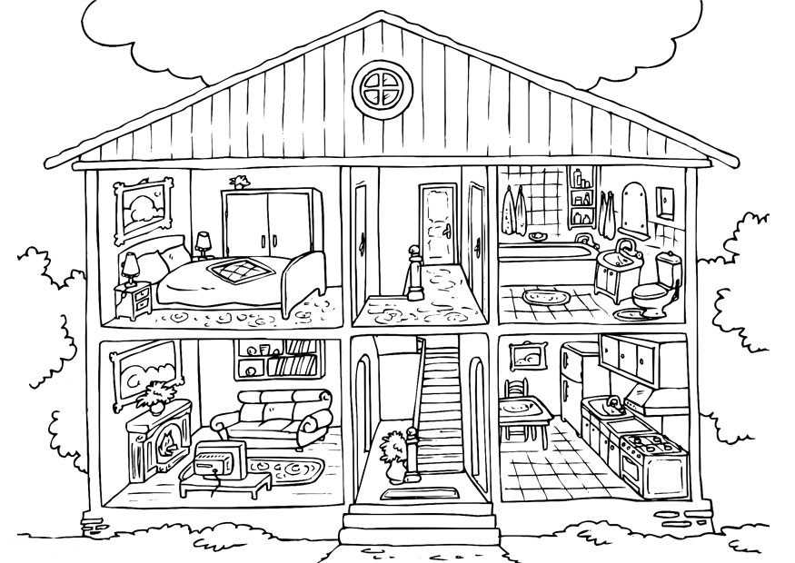 coloring image of house coloring book pages moon farm image coloring of house