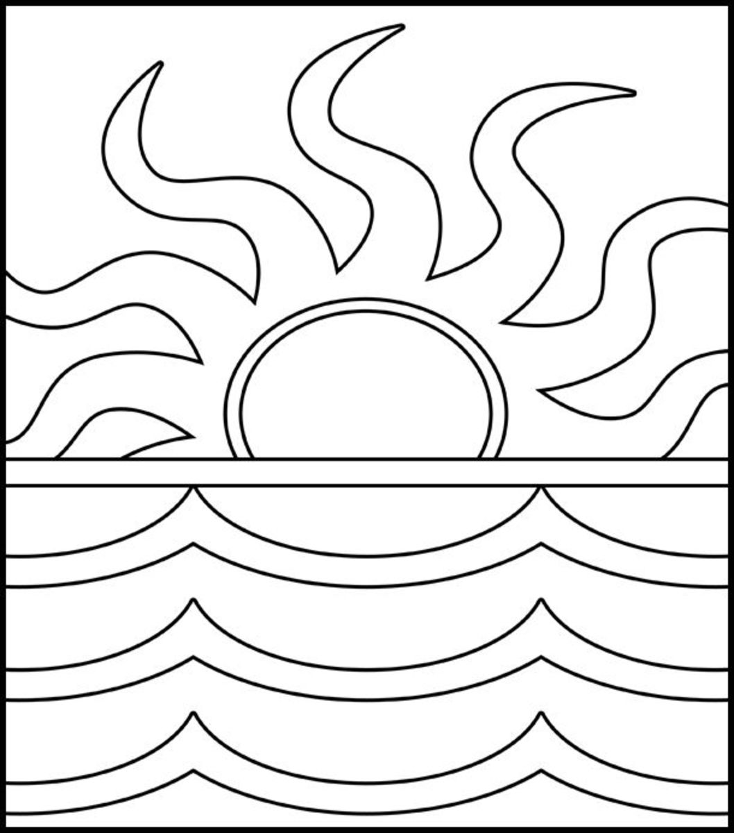 coloring image sunset sunset drawing black and white at getdrawings free download coloring image sunset
