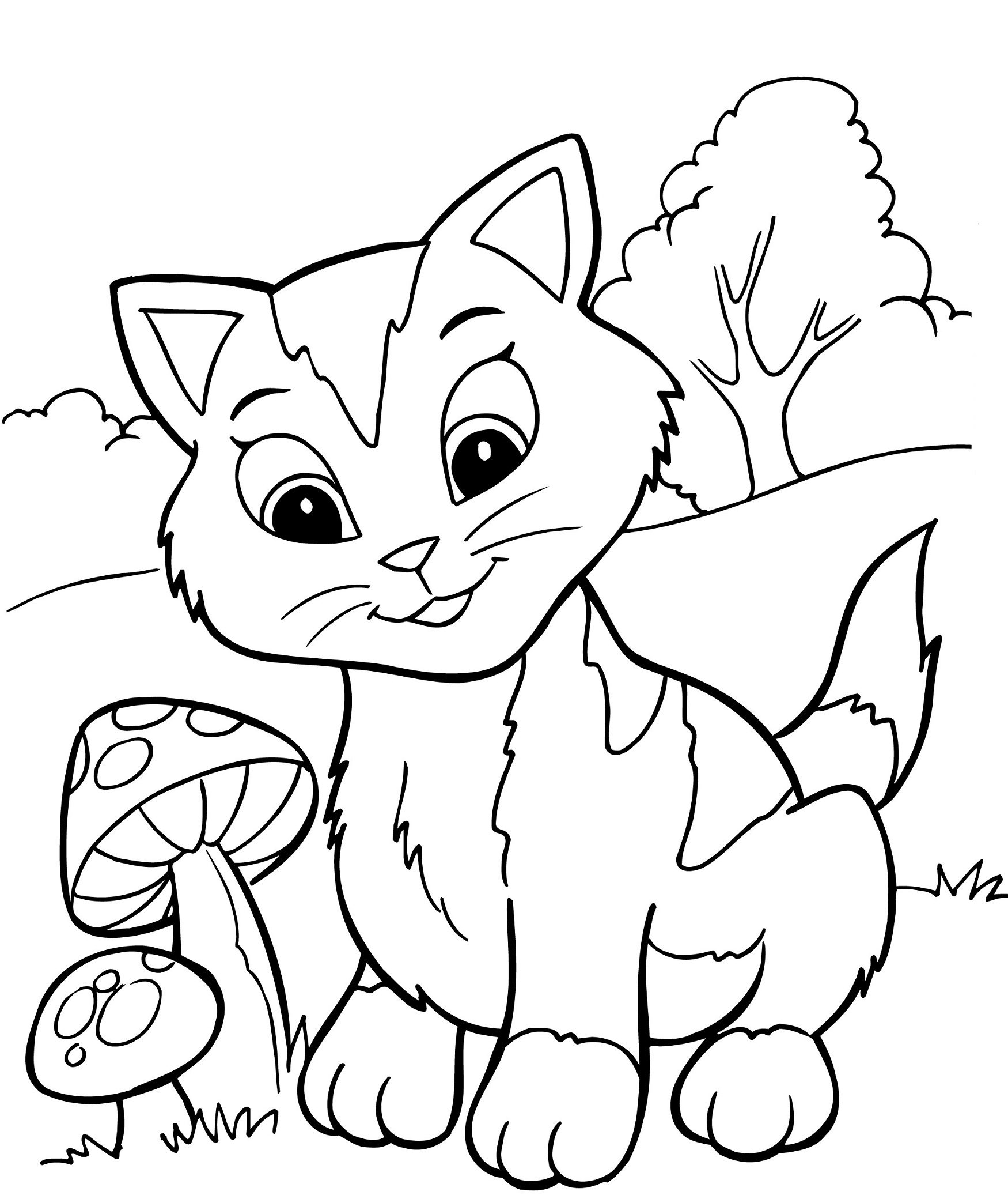 coloring kitty cute cartoon cat coloring pages printable kitty coloring