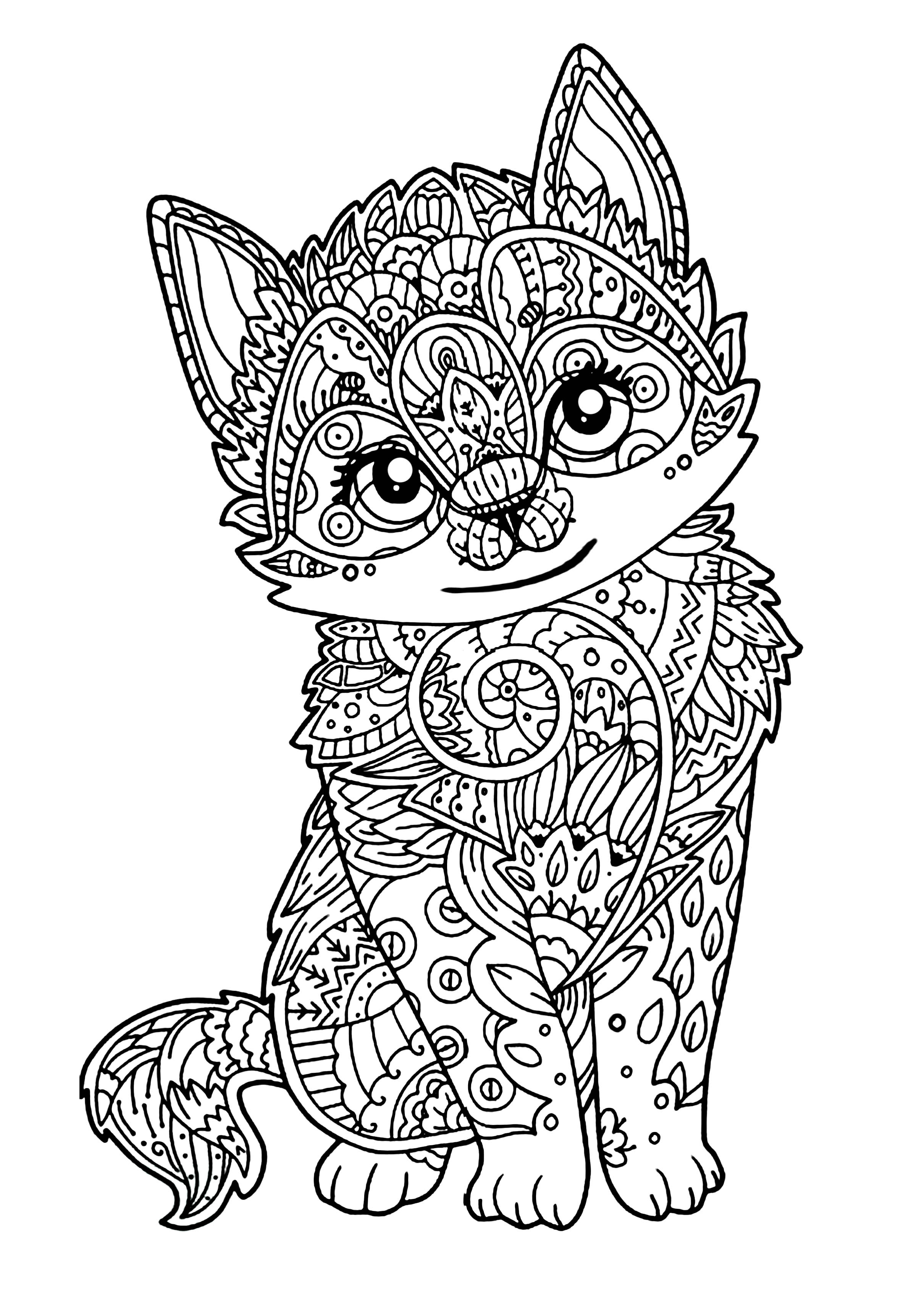 coloring kitty cute kitten cats adult coloring pages kitty coloring