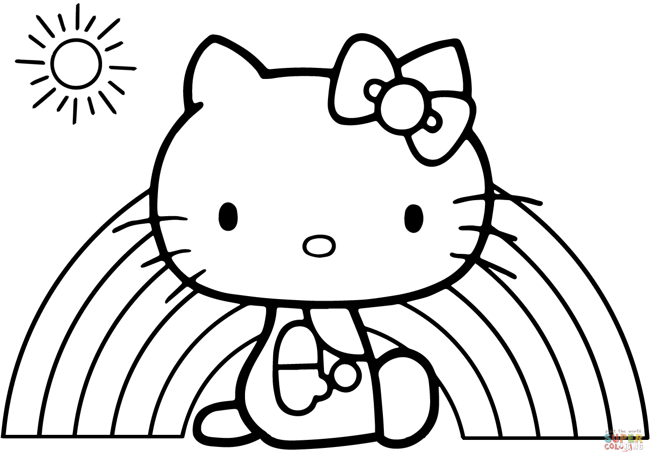 coloring kitty hello kitty rainbow coloring page free printable lusine kitty coloring