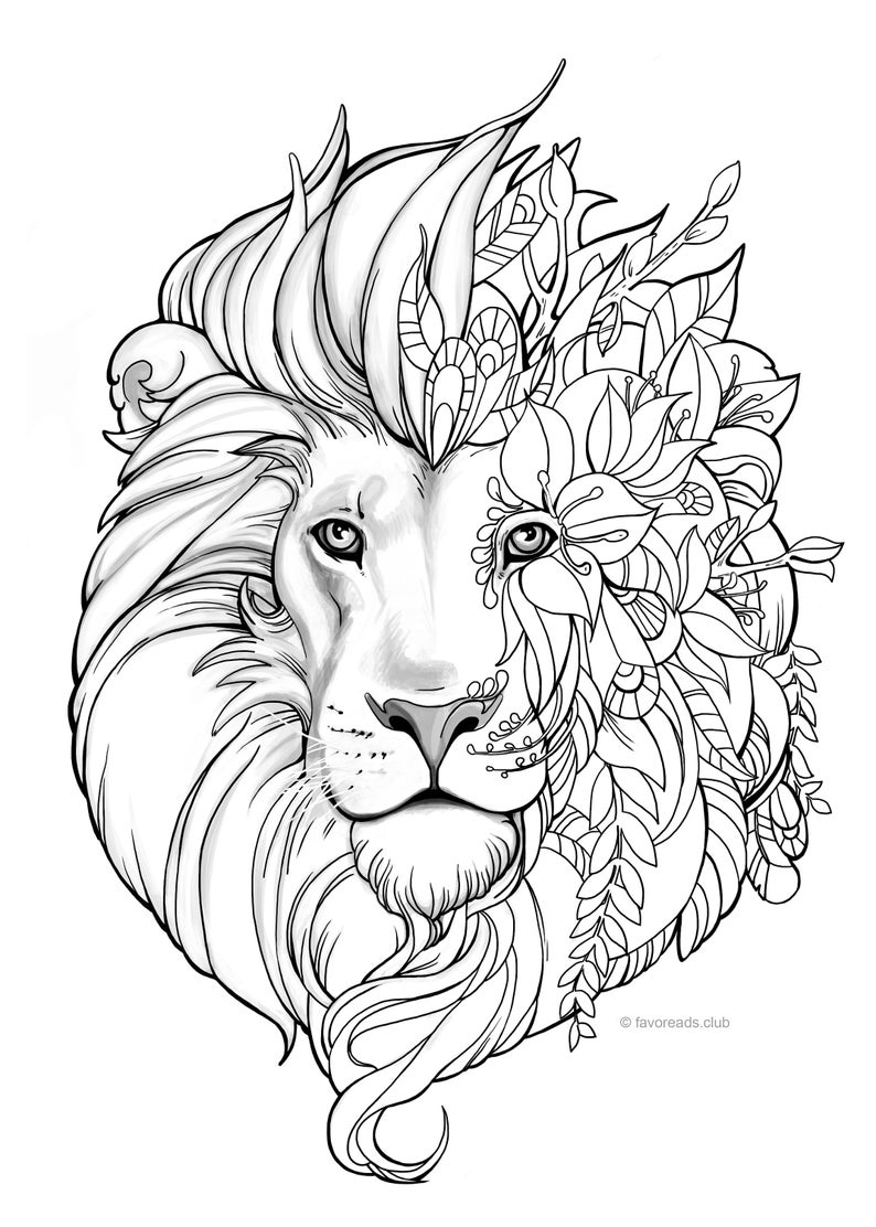 coloring lion pages fantasy lion printable adult coloring page from favoreads pages coloring lion