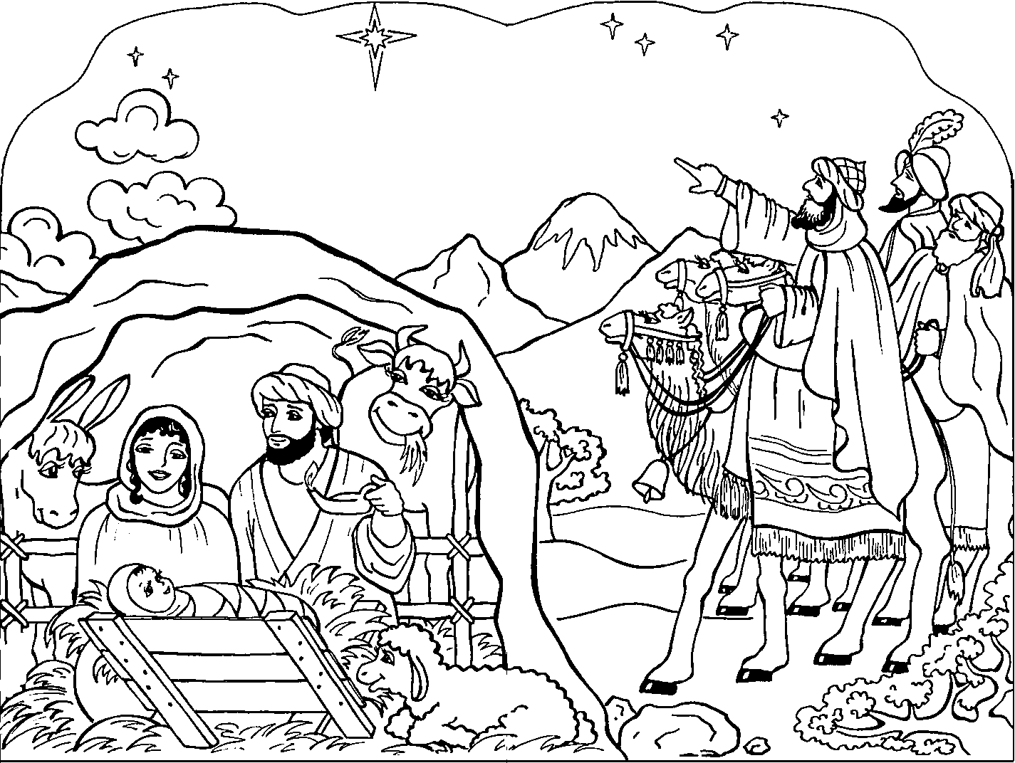 coloring nativity scene printable nativity scene coloring pages for kids cool2bkids nativity coloring scene
