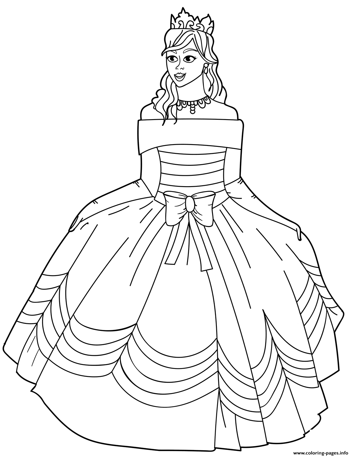 coloring page dress princess in ball gown off the shoulder dress coloring page dress coloring