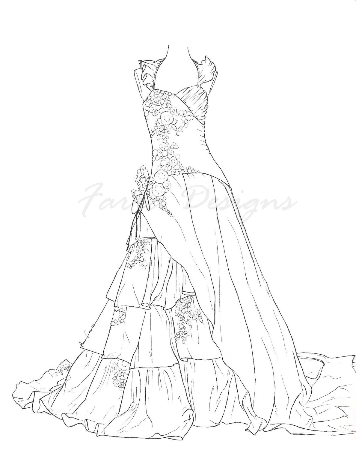 coloring page dress princess in flower dress coloring pages printable page coloring dress