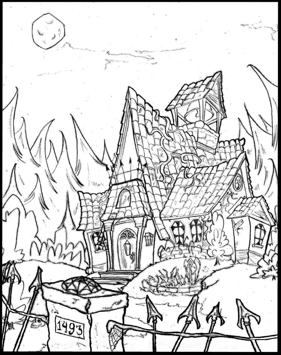 coloring page haunted house adults haunted house coloring pages free printable page coloring house haunted