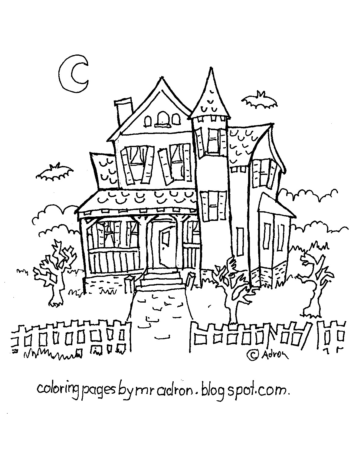 coloring page haunted house coloring pages for kids by mr adron haunted house free haunted coloring house page