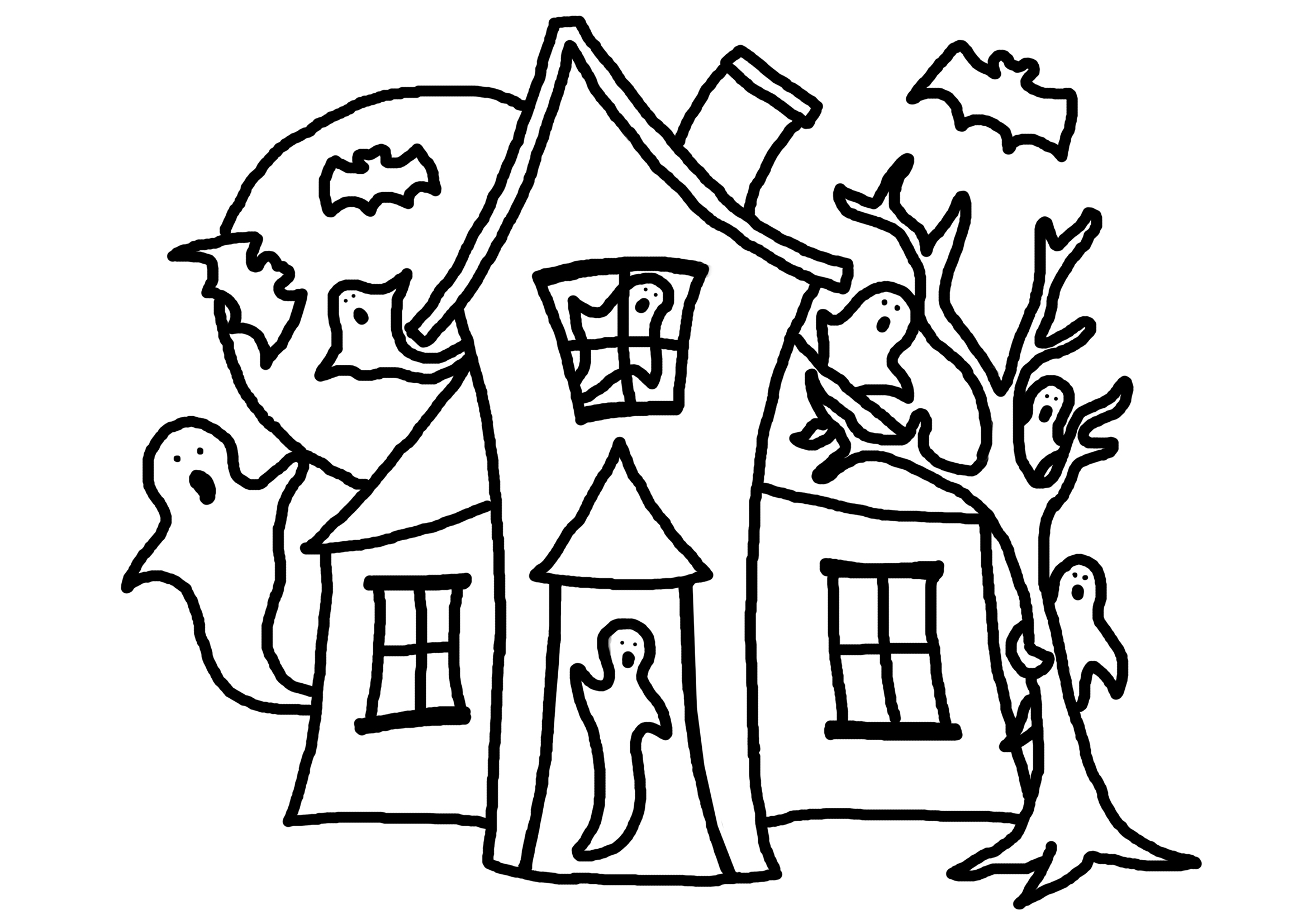 Coloring page haunted house