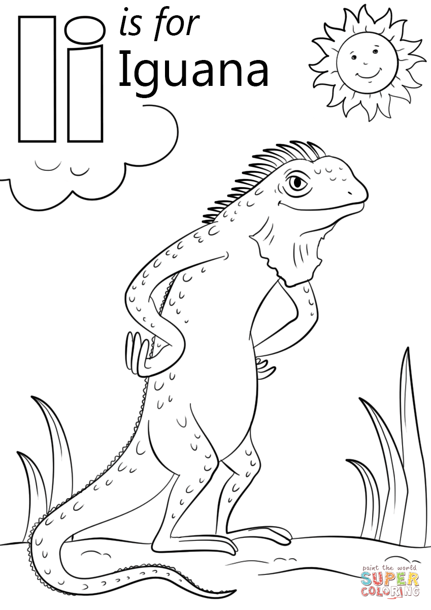 coloring page iguana letter i is for iguana super coloring abc coloring coloring page iguana