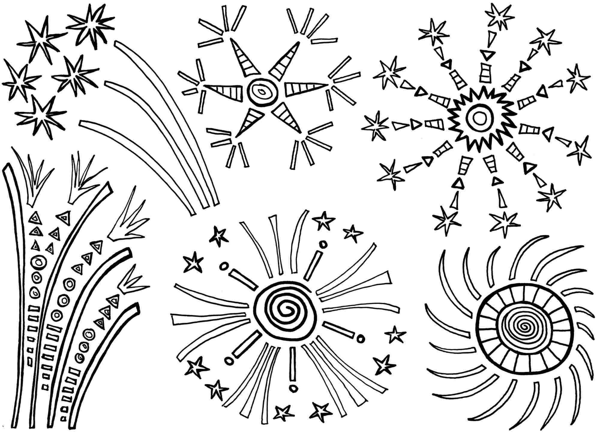 Coloring page of fireworks