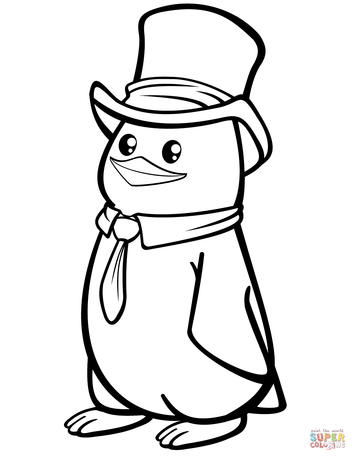 coloring page of penguin polar penguin with a top hat coloring page free of penguin page coloring