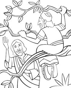 coloring page zacchaeus tree jesus calling zacchaeus to come down from the tree bible page coloring tree zacchaeus