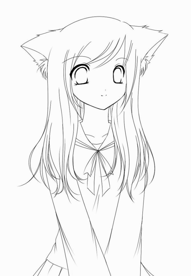 coloring pages anime no color anime coloring pages easy cartoon drawings cartoon girl pages no coloring color anime