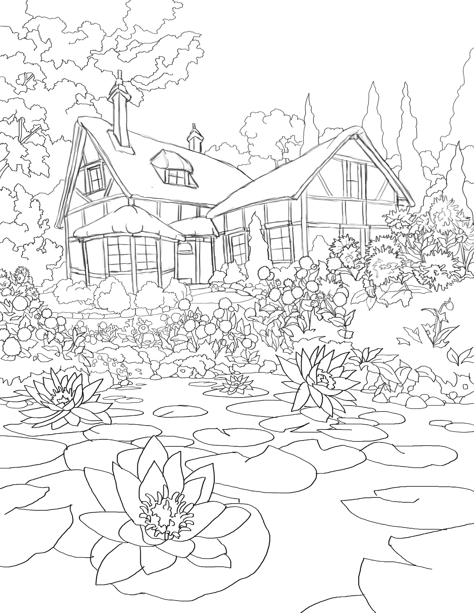 coloring pages of cabins 365 days of coloring cottage pond pages coloring of cabins