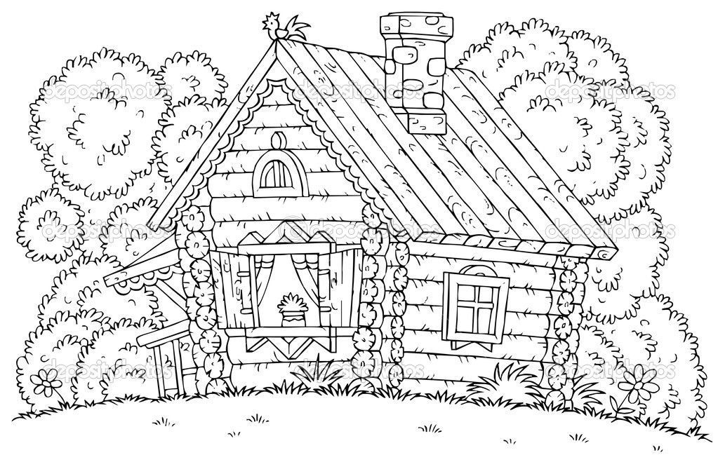 Coloring pages of cabins