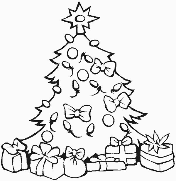 coloring pages of christmas trees stunning christmas tree with all the ornaments and gifts of trees pages coloring christmas