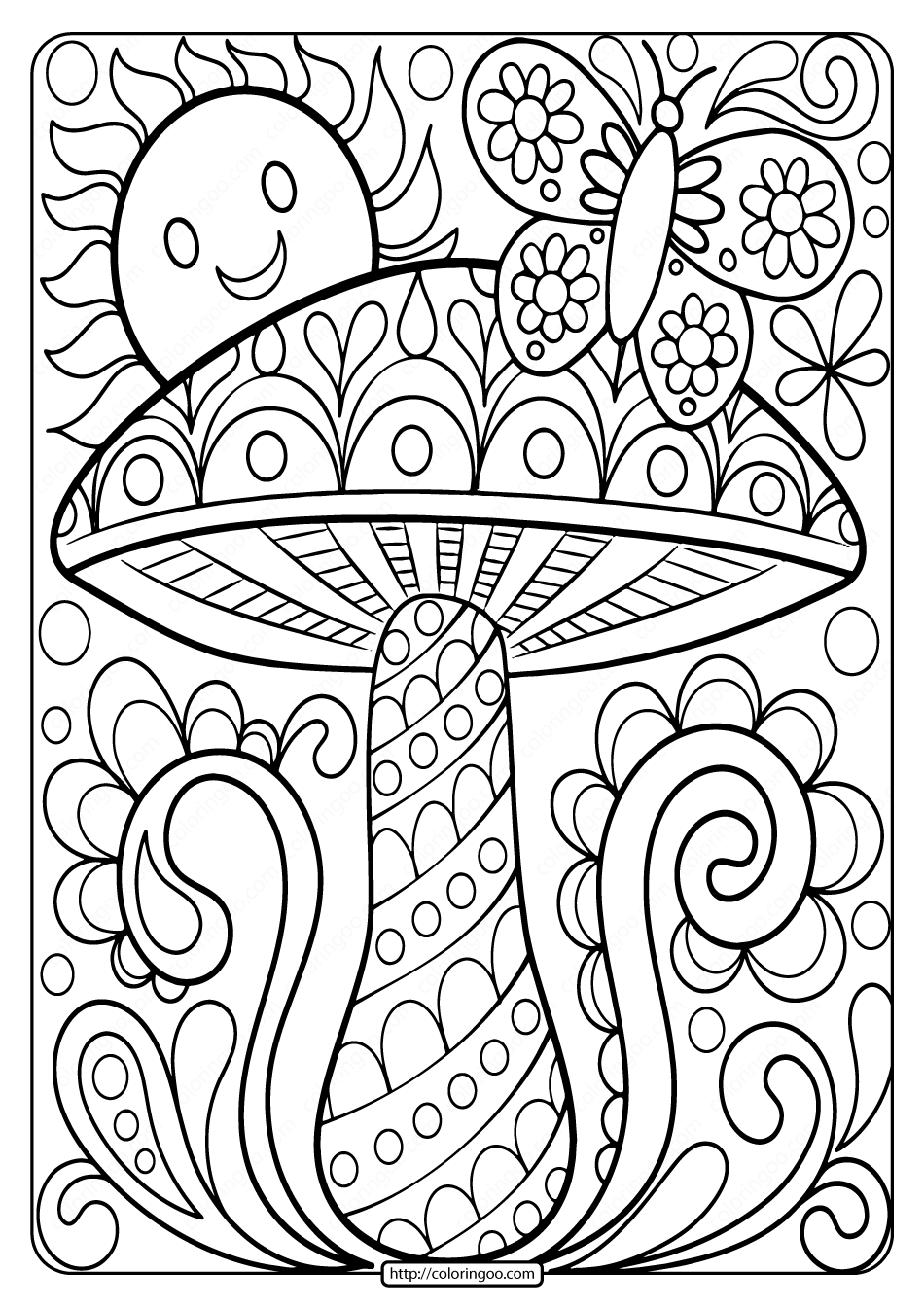 coloring pages of free printable mushroom adult coloring page pages coloring of
