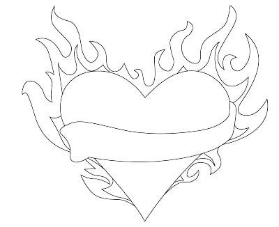 coloring pages of hearts with flames heart and labels drawing at getdrawings free download flames coloring pages with of hearts