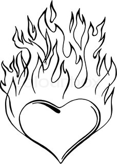 Coloring pages of hearts with flames