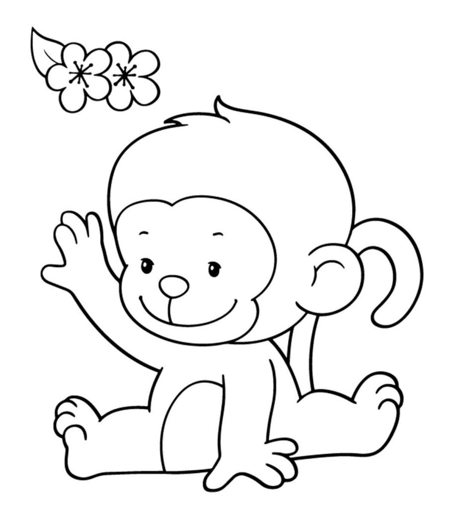 Coloring pages of monkey