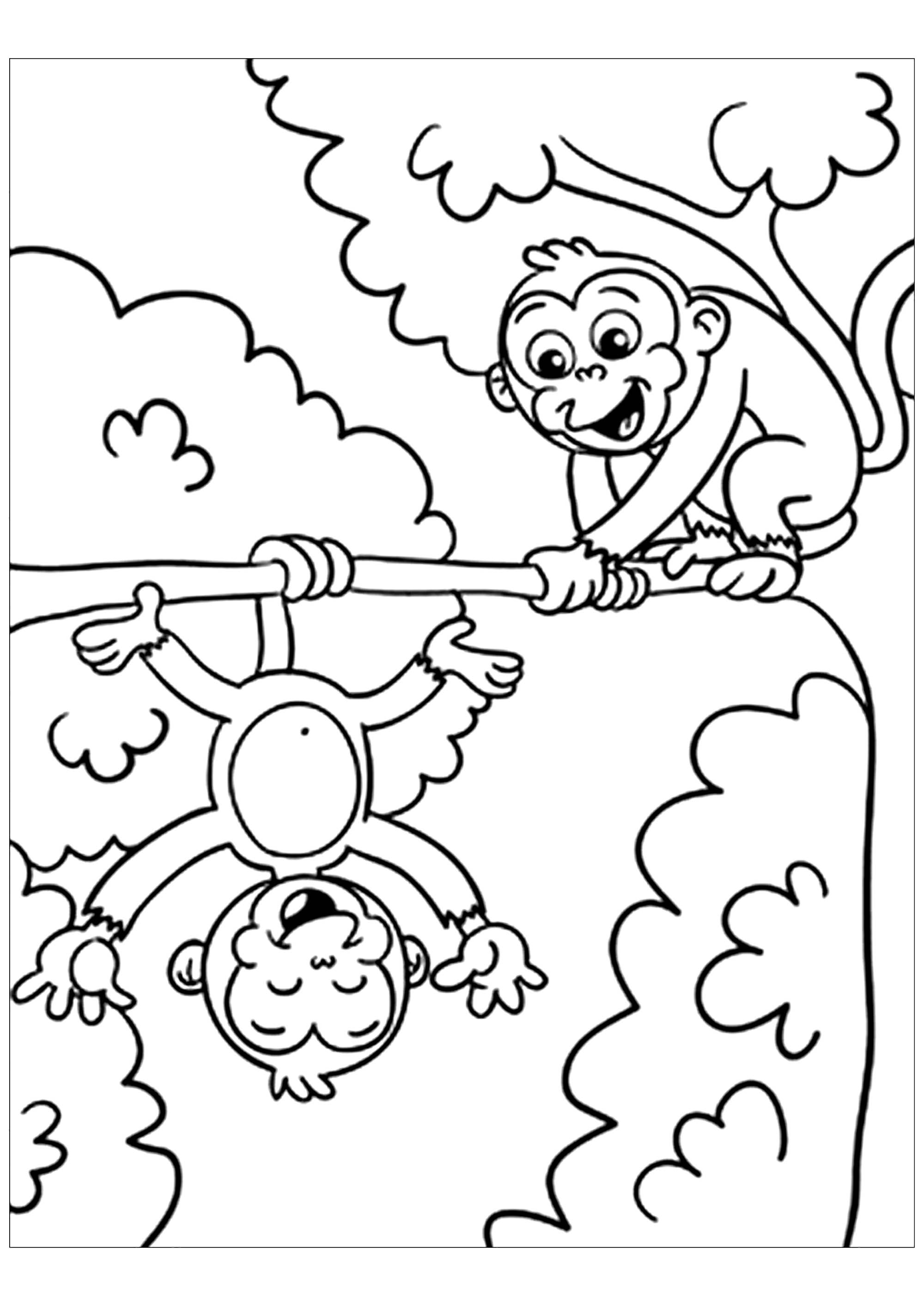 coloring pages of monkey monkeys to print for free monkeys kids coloring pages pages of monkey coloring