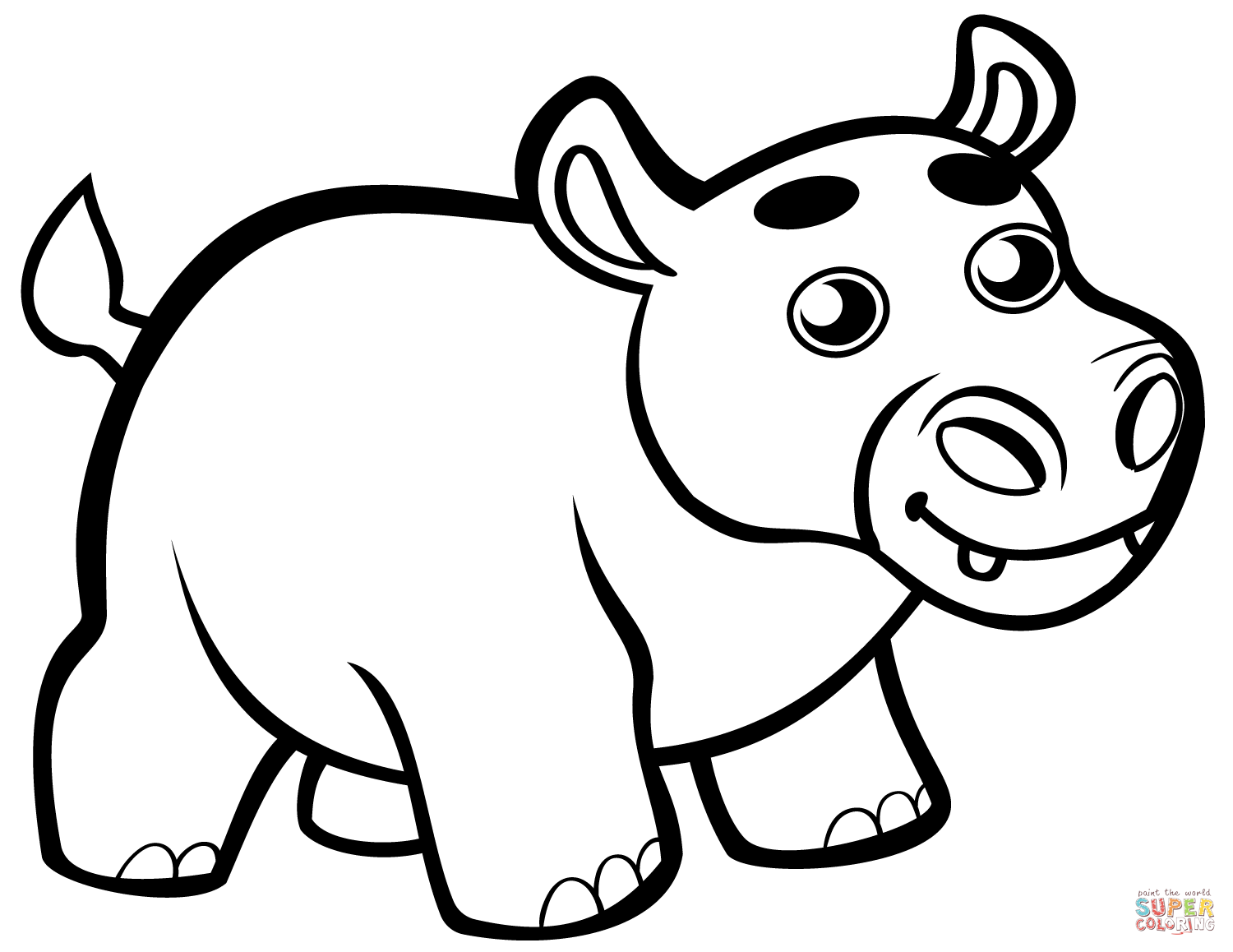 Coloring picture hippo