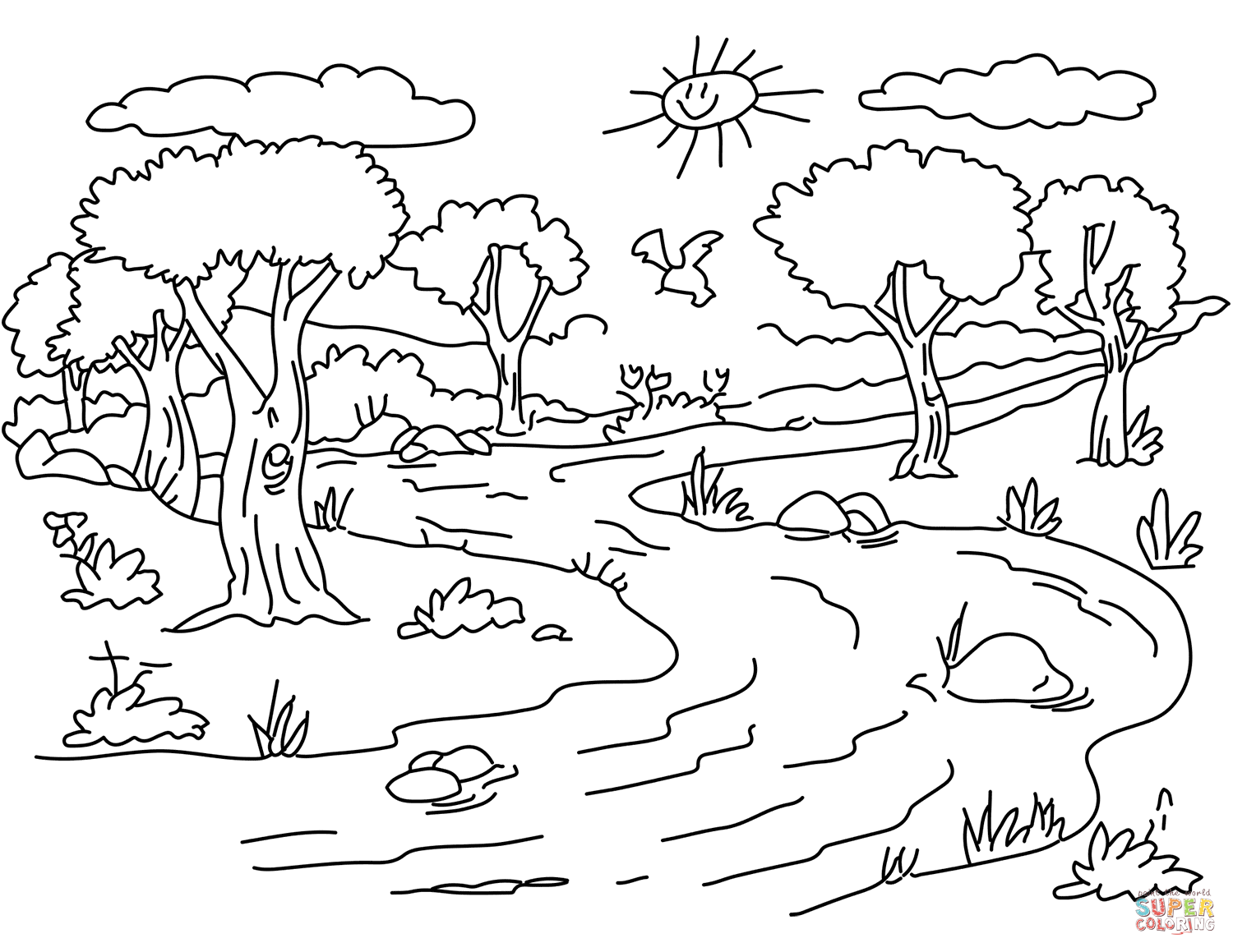 Coloring picture river