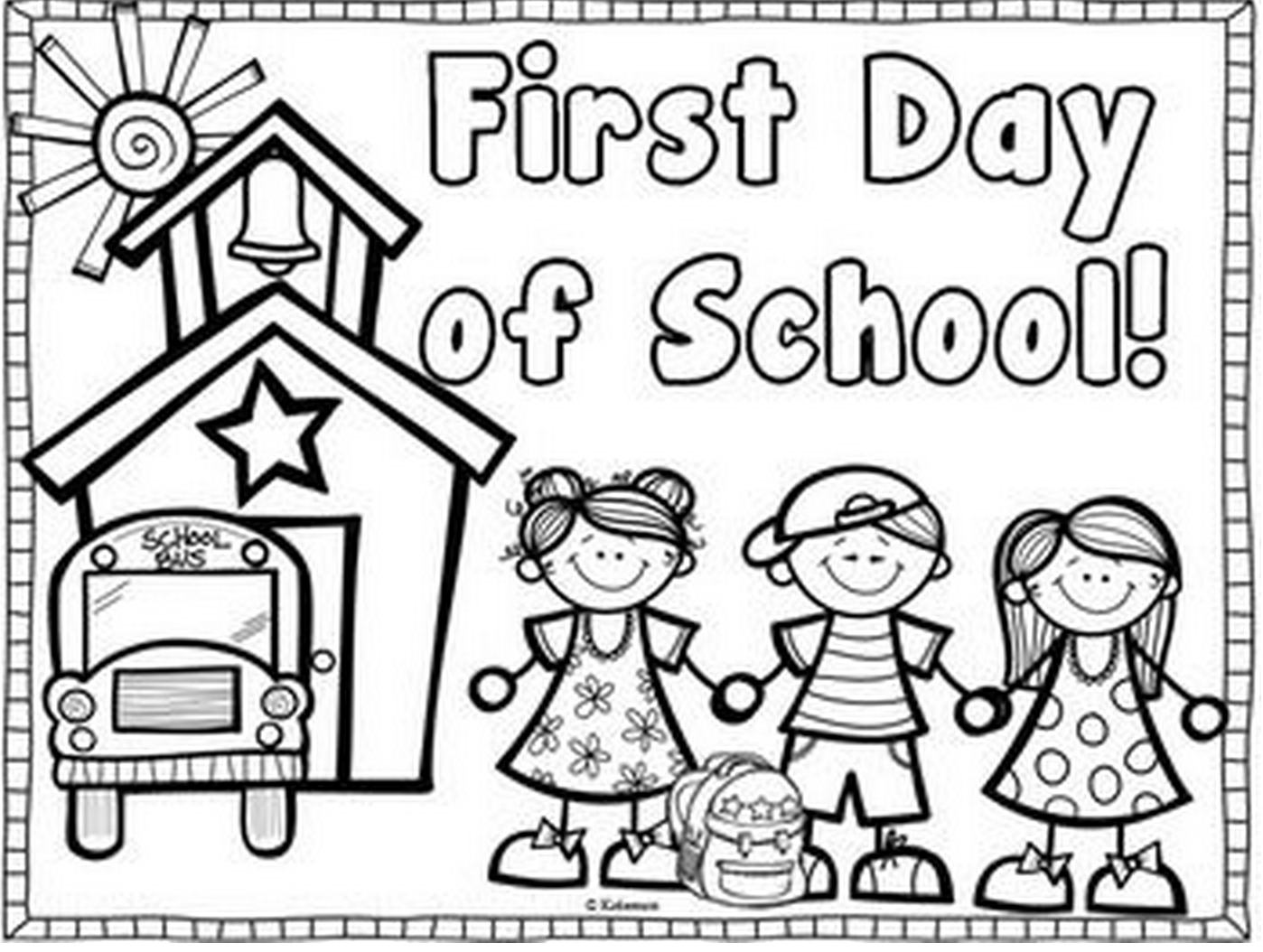 coloring picture school a nice school in the countryside on first day of school school coloring picture