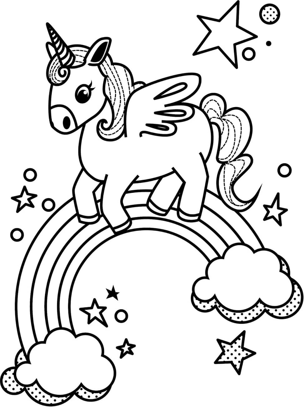 coloring picture unicorn unicorn coloring page for kids stock illustration picture coloring unicorn