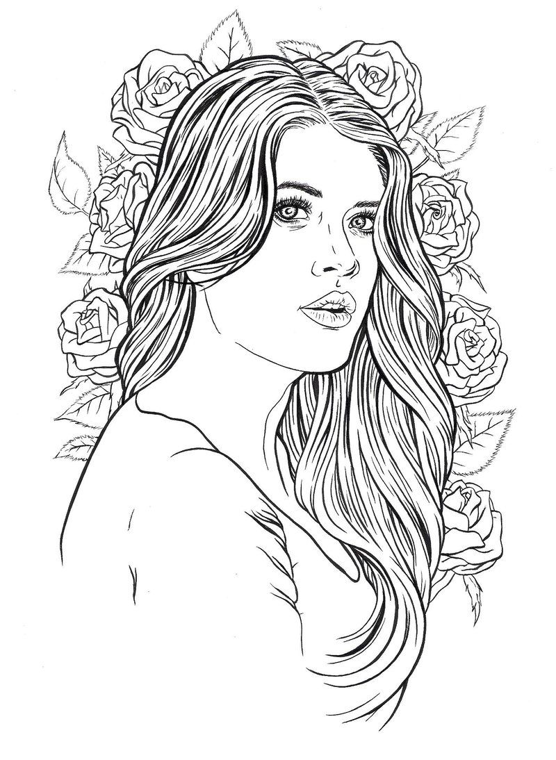 coloring pictures of people adult coloring page girl portrait and clothes colouring of pictures coloring people