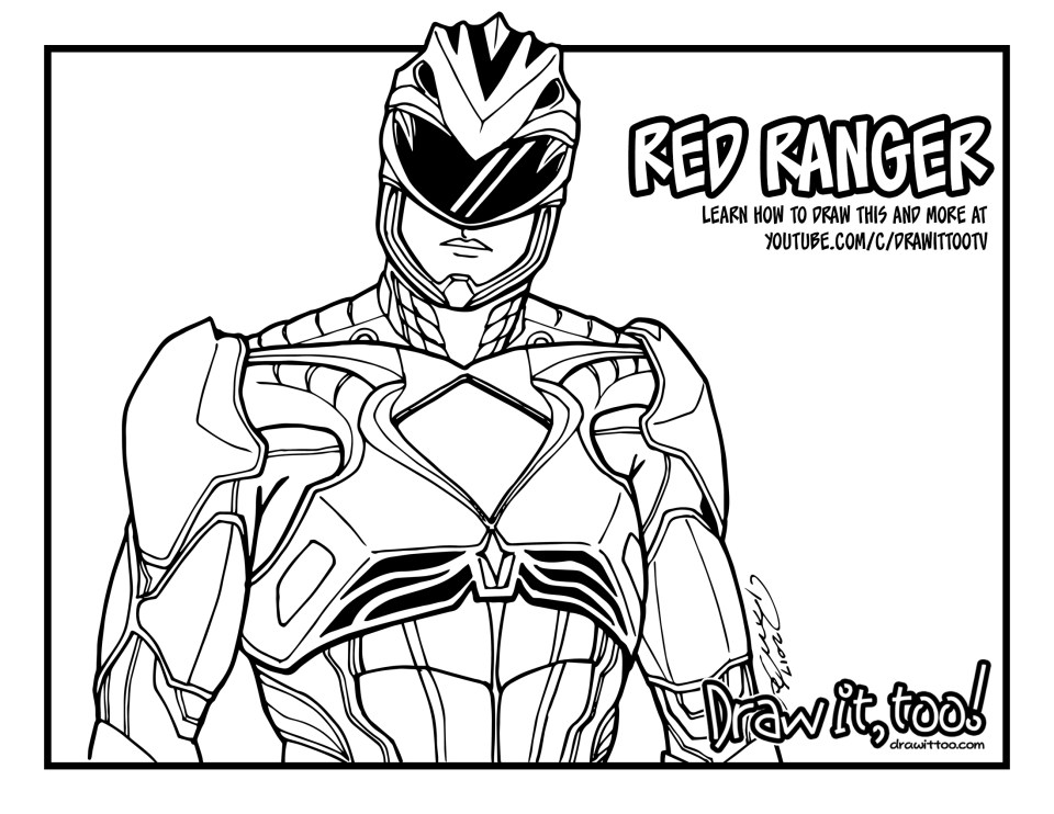 coloring power rangers red ranger power rangers 2017 movie draw it too power rangers coloring