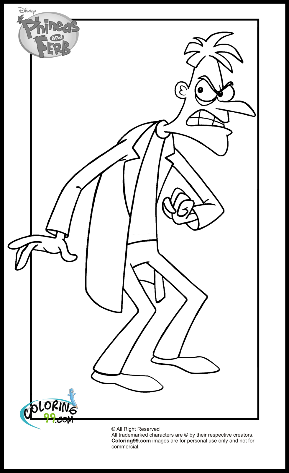 coloring printables phineas and ferb coloring pages minister coloring printables coloring