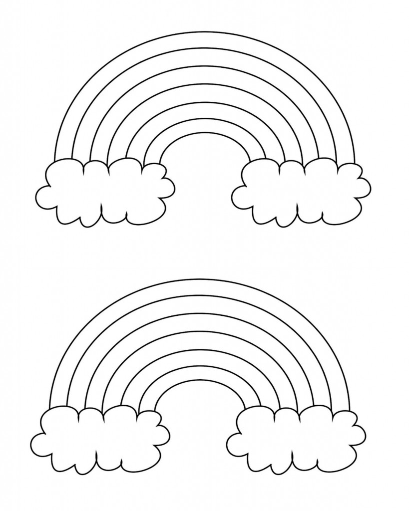 coloring rainbows rainbow with clouds coloring page nature rainbows coloring