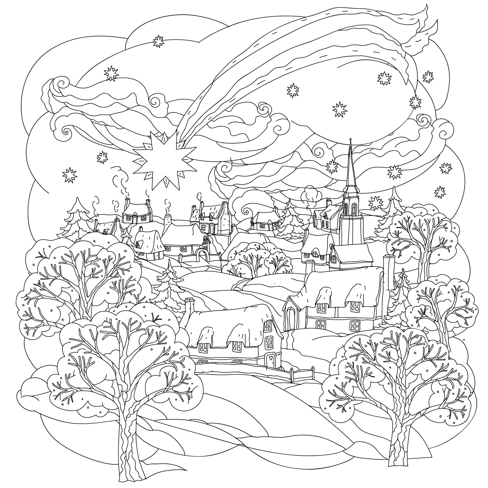 coloring scene christmas coloring pages for adults best coloring pages coloring scene