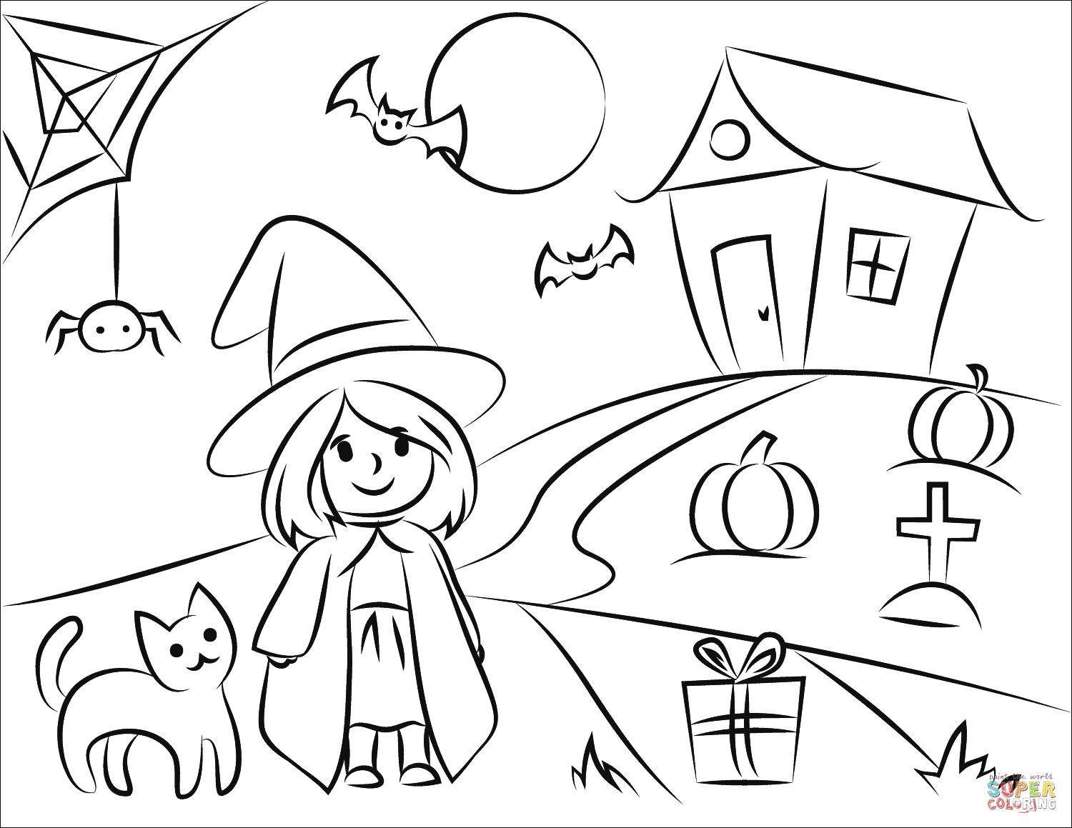 coloring scene halloween scene coloring page free printable coloring pages coloring scene