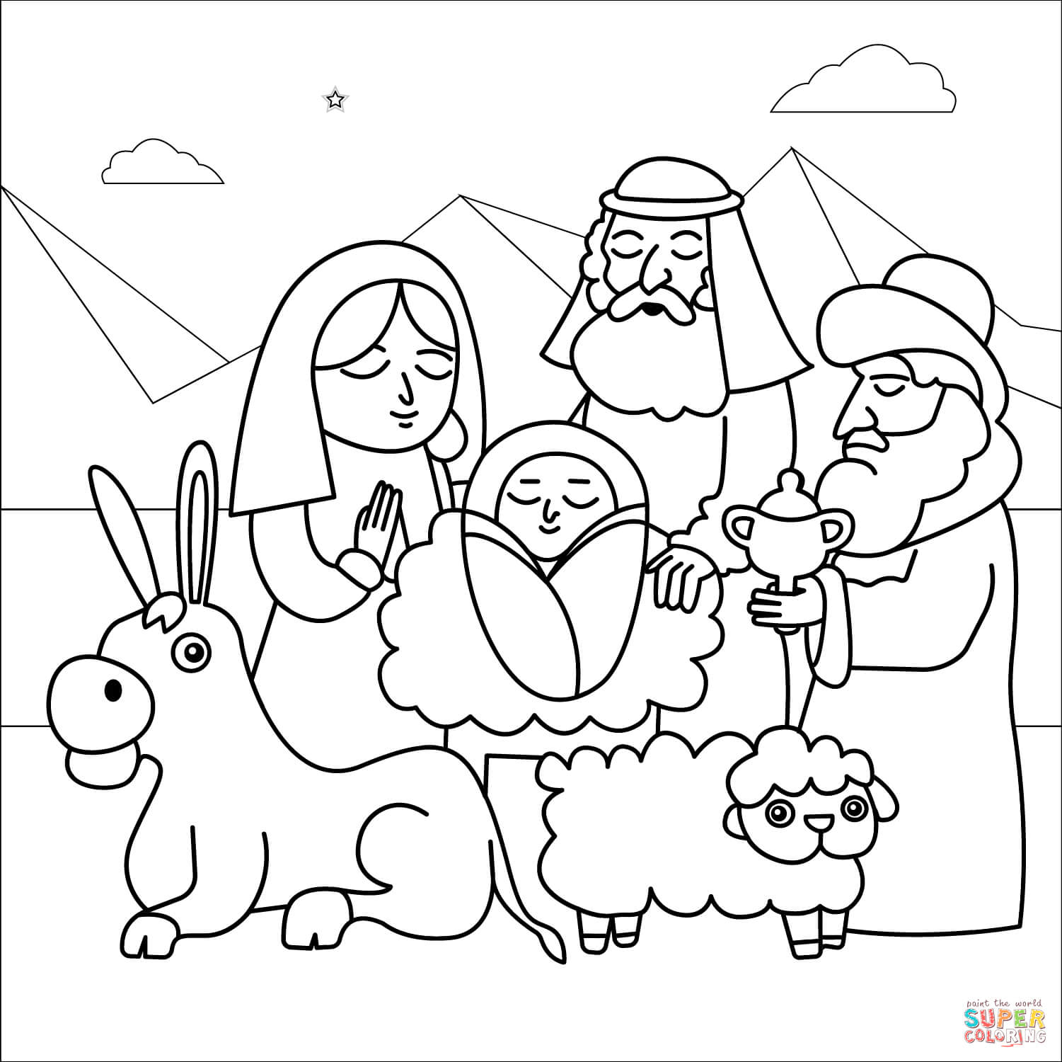 coloring scene nativity scene coloring page free printable coloring pages coloring scene
