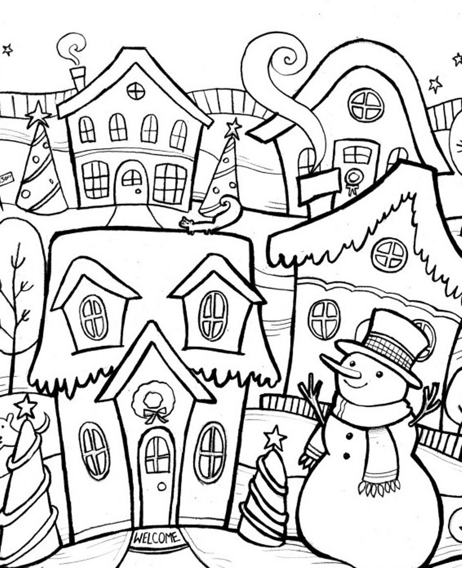 coloring scene printable winter scene coloring pages coloring home coloring scene
