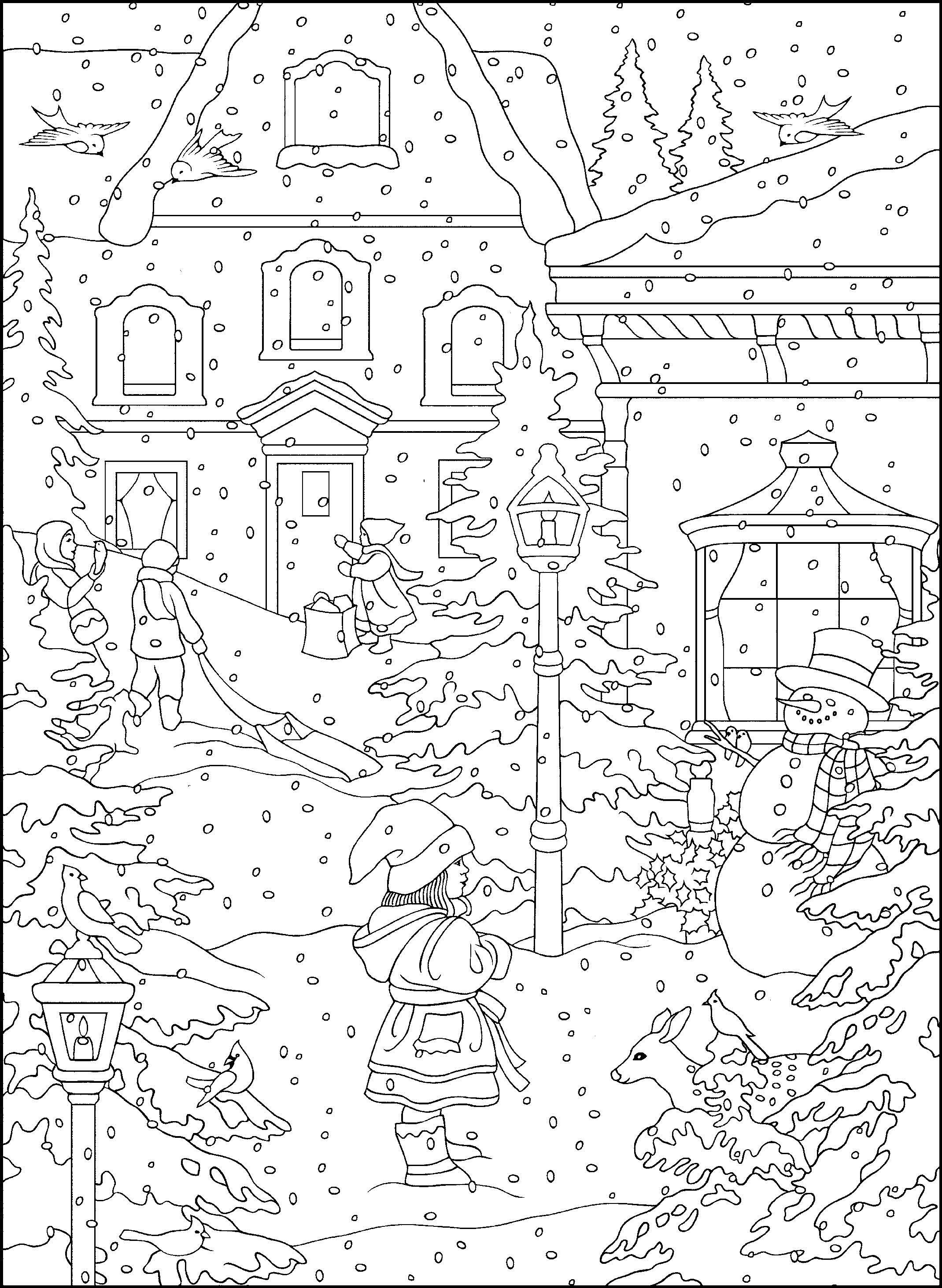 coloring scene winter coloring pages for adults best coloring pages for coloring scene