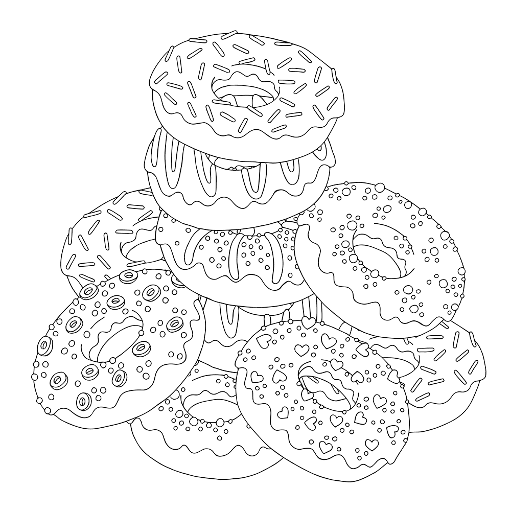 coloring sheet donut variety decorated donuts colouring pages picolour sheet coloring donut