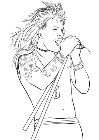coloring sheet guns and roses coloring pages axl rose from guns n39 roses coloring page free printable pages and coloring sheet guns coloring roses