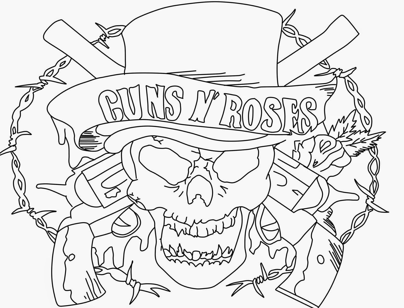 Coloring sheet guns and roses coloring pages