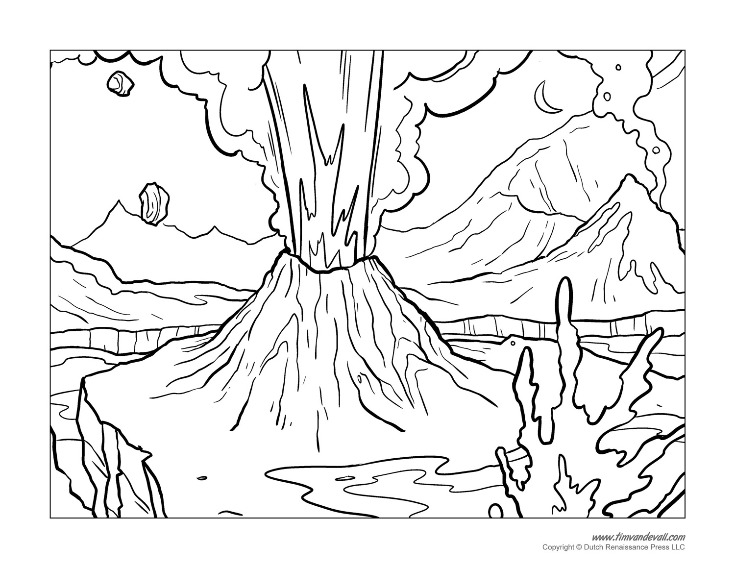 coloring sheet volcano volcano coloring pages getcoloringpagescom sheet volcano coloring
